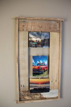 Love this idea - use recycled pallets to display photos.