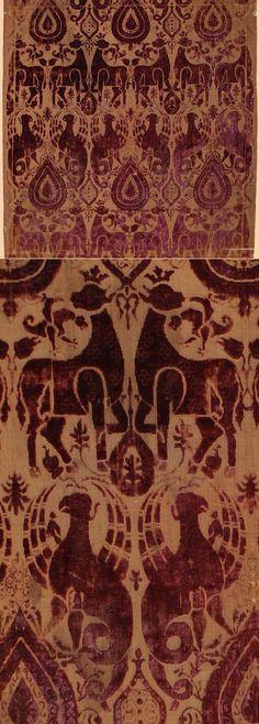 Antique Italian Textile, Silk Cut Velvet  15th Century