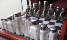Found at the Oregon Culinary Institute, this chess set enlists the various styles of salt and pepper shakers to a long-standing, strategic war. We could find unorthodox things to make game pieces with.