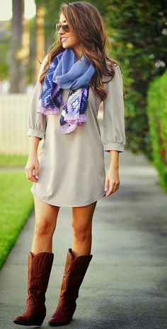 love the dress, dislike the boots (not into cowboy boots), needs tights.