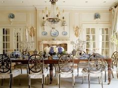 dining rooms, interior, crystal chandeliers, dine room, decorating blogs, blue, dining room tables, painted chairs, white