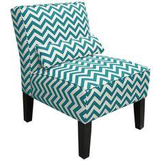 Turquoise Chevron Slipper Chair.