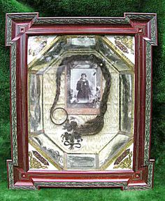 Ornate framed memorial Post Mortem photo with human hair, shadow box.  Remembrance cabinet card photograph circa 1885,  by photographer Leon Huisman of Liege Belgium.