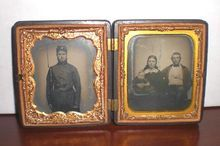 Gutta-Percha Union Case Tin Type Civil War Soldier and Ambro Type Family