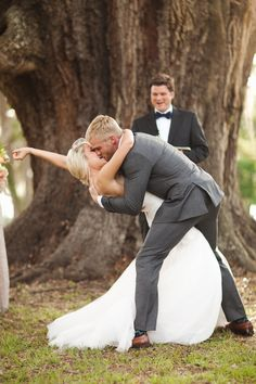 now that's a first kiss :) photo by Ben Sasso http://ruffledblog.com/sweet-santa-fe-river-ranch-wedding #firstkiss #wedding #ceremony