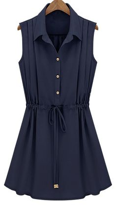 Navy Sleeveless Drawstring Waist Pleated Chiffon Shirt Dress