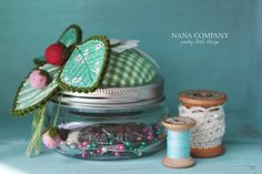strawberry mason jar pin cushion   Flickr - Photo Sharing!