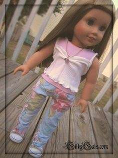 American Girl doll outfit Rosey Posey   4 piece by GillyGals, $24.99  an awesome pair of rose / floral jeans, a pink tank, a cream cami and a matching lamp work bead necklace