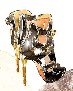 An Herve Leger in watercolour & ink by Samantha Hahn #fashionillustration