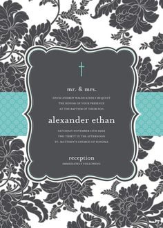 Black and White Brocade with Turquoise Baptism Invitation