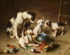 Carl Reichert (Austrian, 1836-1918) - Budding artists, oil on panel.