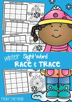 FREE!  Sight Words - Winter Race and Trace Worksheets