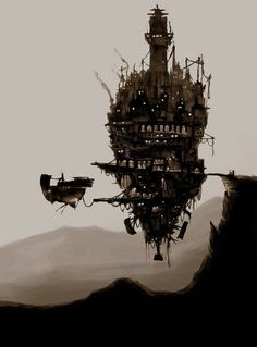 Cool steampunk boat and city