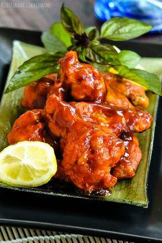 Super Bowl football  Chicken Wings in Honey-Sriracha Sauce recipe