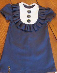 Retro 1960's style  Navy Layla dress with bib and by faithworks4u, $44.00