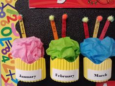 "So cute!  Birthday cupcakes made with corrugated border and tissue.  Put popsicle stick ""candles"" in with student names to track birthdays.  Visit Teaching Little Miracles Blog for more pics. classroom birthday board, birthday board preschool, monday, birthday board for classroom, birthday bulletin, bulletin boards, birthday boards preschool, birthday cupcakes, birthday wall"