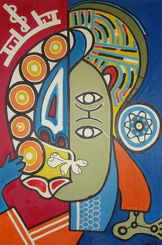 Counting my Kisses - Cubism Artwork 36x24in - Fine Art for Hope