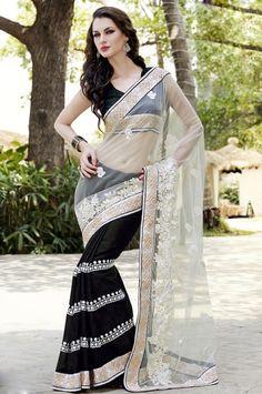 Breathtaking Black and Ivory Saree