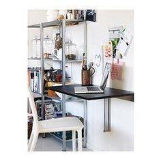 Cat Purch BJURSTA Wall-mounted drop-leaf table - brown-black - IKEA