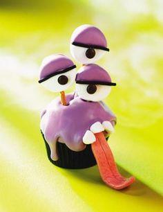 Purple People-Eater Cupcake Recipe.  Halloween cupcake treat
