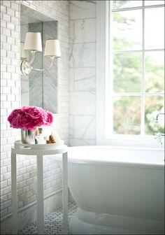 black door, pink flowers, bathroom interior design, bathroom designs, white bathrooms, subway tiles, modern bathrooms, design bathroom, marbl