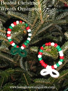 Beaded #Christmas Wreath Ornaments #Craft