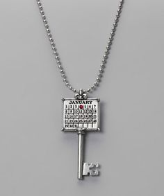 """Love this idea for """"gotcha day"""" - Take a look at this Antique Silver 'January' Calendar Key Necklace by Not Just Any Old Day on #zulily today!"""