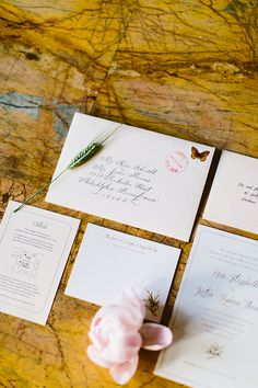 elegant wedding invitations, photo by Redfield Photography http://ruffledblog.com/romantic-philadelphia-wedding #weddinginvitations #calligraphy