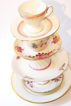 Etagiere from vintage cups for all your homemade goodies!