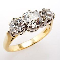 Vintage Wedding Rings 1920 | Antique Old Euro Cut Diamond Three-Stone Engagement Ring 18K Gold 1920 ...