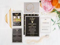 modern wedding invitations, photo by Ashley Goodwin http://ruffledblog.com/kate-spade-inspired-wedding-in-hawaii #weddinginvitations #stationery