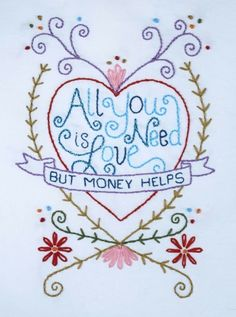 All You Need Is Love Embroidery Pattern. Nx