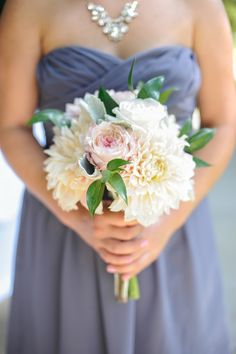 Rose and Dahlia Bridesmaid Bouquet | Alders Photography