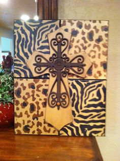 Animal Print Wood Cross Picture