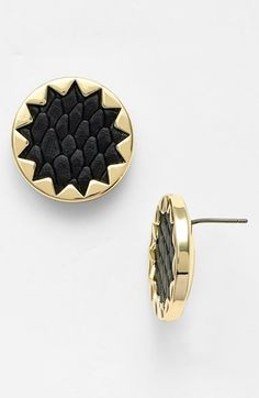 button earrings, sunburst button