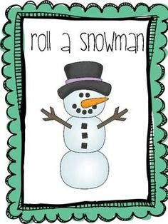 Roll a Snowman: A Winter Freebie - Pinned by @PediaStaff – Please Visit ht.ly/63sNtfor all our pediatric therapy pins winter freebi, rolls
