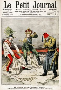 political caricatures (Austria-Hungary and Russia taking from Ottoman Empire)