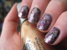 Purple and bronze watercolour nails