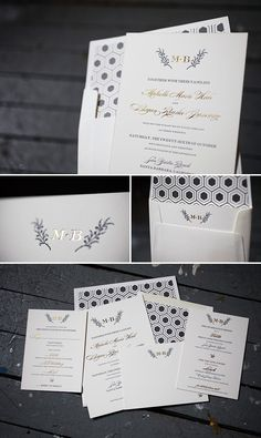 beautiful letterpress and foil stamped wedding invitations