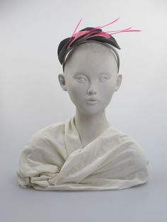 Grey and pink felt leaf hairband with pink feathers. Any season. Free size | Label: Judy Bentinck | Made in England