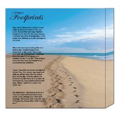 """Footprints in the Sand Poem -12"""" x 12"""" Canvas Frame"""