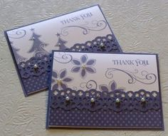 Lace ribbon border punch looks great with these Season of Joy stamps.  The pearls might be tricky if you mail the card, but you could use a pearlized paint dot for the same effect on this handmade thank you card.