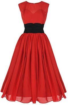 Red Chiffon Pin Up Dress Vintage 1950s Dress