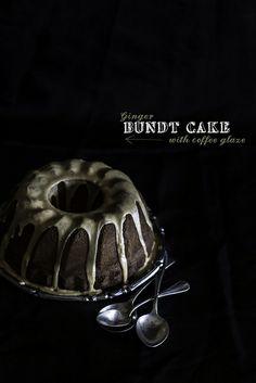 ginger bundt cake with cOffee glaze