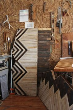 Amazing reclaimed wood headboards made by designer Ariele Alasko in her beautiful workshop.  See her blog at http://brooklyntowest.blogspot.co.uk