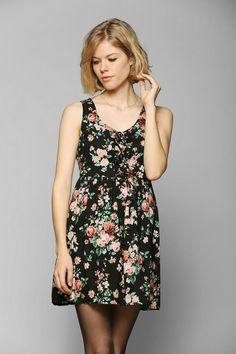 Band Of Gypsies Lace-Up Babydoll Tank Dress #urbanoutfitters