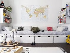 This would be a great storage/lounging/guest sleeping setup for our playroom rather than just buying a couch.