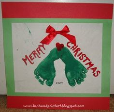 I'm so going to do this for our Christmas cards this year! Handprint and Footprint Arts & Crafts: Christmas Handprint/Footprint/Thumbprint Art