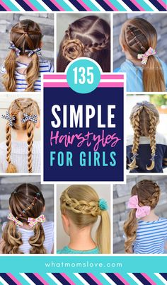 Best Easy Girls Hairstyles for toddlers to tweens & teens | Fun braids, cute ponytails, pigtails, half up and buns for back to school or special occasions. Quick and simple updos for long or short hair your kids will love! #hairstyles #braids