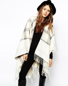 ASOS Reversible Cape With Check Panel #asos #cape #fashion #winter